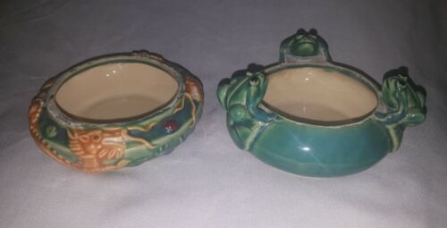 Two Beautiful Majolica Style Pottery Planter Bowls - 3 Frogs / Dragon Designs