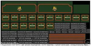 HORNBY DUBLO DUCHESS / CITY CONVERSION TRANSFERS 8 NAMEPLATES & NUMBERS 1 TENDER