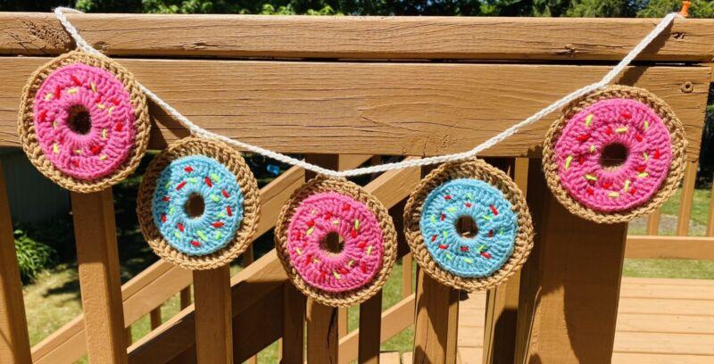 Crochet Garland bunting DONUT BANNER BABY SPRING BOHO handmade wall decor