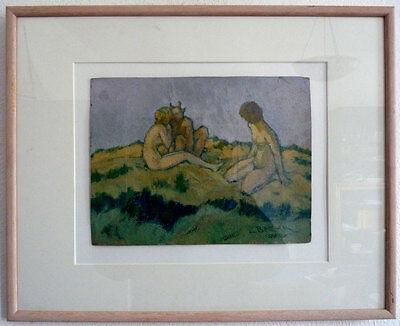 Jeune Femmes et Pan, Art nouveau, C. Ba, um 1900
