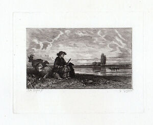 Jules-Dupre-The-Shepherd-etching-1870s-laid-paper-Antique