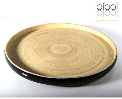 bibol Bambus Tablett Ø 35 cm Gartentablett Schwarz Handarbeit Nachhaltig Öko