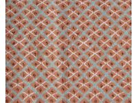 FABRIC - PALE TERRACOTTA / TEAL, Cotton Fabric piece. COLLECTION or DELIVERY