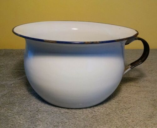 Antique Enamel Chamber Pot - K.E.R Sweden - (white & black & blue - vintage)