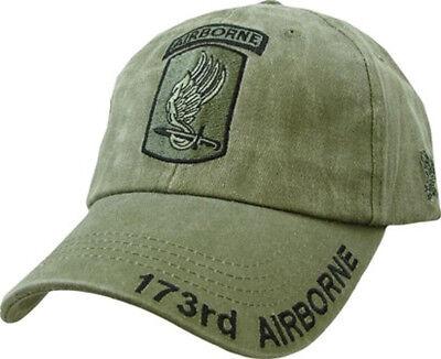 173rd Airborne Insignia Hat / U.S. Army Sky Soldiers OD Green Baseball Cap
