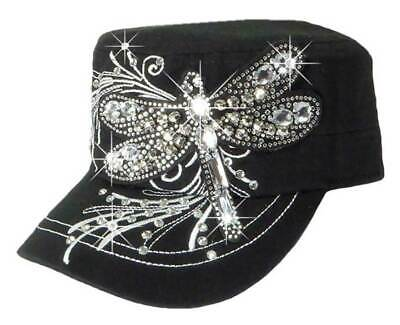 That's A Wrap Women's Crystal Bling Over-Sized Dragonfly Cadet Cap CC1428-BLK