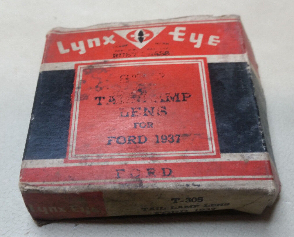 NOS 1937 Ford Stop & Tail Lamp Lens T-305 Lynx Eye 78-13450 Box RUBY GLASS Chip