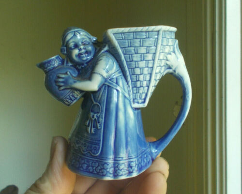 SCHAFER & VATER BLUE MAID GIRL WITH PITCHER CREAMER SIGNED PORCELAIN EARLY 1900
