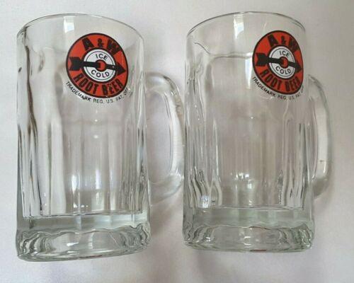 2 Vintage A&W Root Beer Glass Mug 12 Oz Arrow Bullseye Target Logo Ice Cold Red