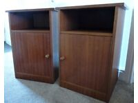 WOODEN BEDSIDE CABINETS X 2 - IDEAL FOR PAINTING/SHABBY CHIC