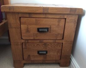 Ridpley Rough Sawn Solid Oak Bedside Cabinets