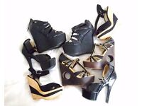 Bundle Job Lot of Faith and others Platform Wedge Heel Shoes and Sandals size UK 4