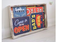 Retro Beige Mahogany Serving Tray Multi Oilcloth PVC Art Craft Ranch Cafe BBQ Diner Hand Painted