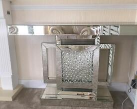 Floating crystal mirror consol table brand new REDUCED