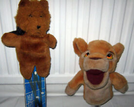 TWO HAND PUPPETS , DISNEY LION KING and FAITHFULL FRIEND HEDGEHOG