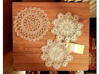 *CHARITY SALE* Handmade Vintage Crocheted Doily (a set of 5) - wonderful pattern - housewarming gift