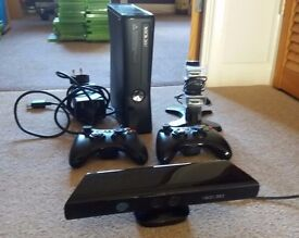 XBOX360 S 250GB console/kinect sensor/2 controllers/charging station