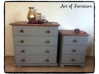 Rustic Pine Bedroom Furniture Set Chest Of Drawers & Bedside Table Hand Painted Grey Mineral Paint