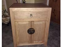 Oriental design pine storage chest/bedside or lamp unit