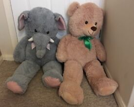 Two large cuddly toys soft toys bear elephant