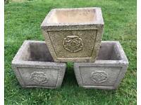 Three beautiful retro molded concrete planters
