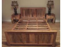 Kingsize Bed with matching bedsides - mango wood
