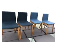 4 X dining reception chair Connection oak emma series blue