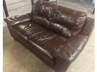 Brown leather affect 2 seater couch