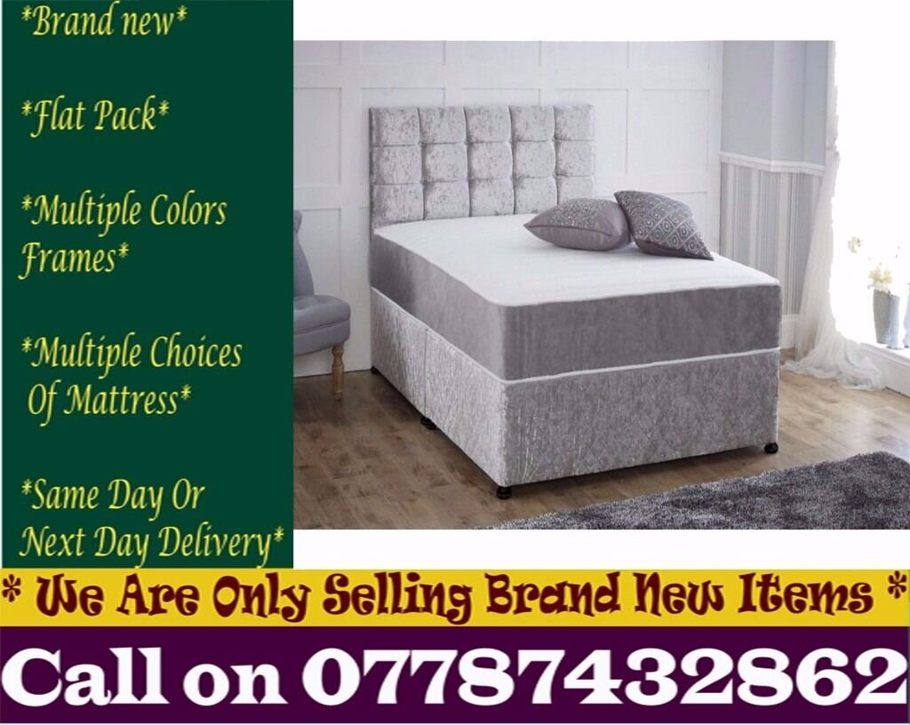Amazing Offer CRUSH VELVET SINGLE DOUBLE KING SIZE MEMORY FOAM DESIGNERBedding Cheshirein Mitcham, LondonGumtree - Features Brand New Bed Type Divan Bed Size Standard Double Material crush velvet Dimensions Width 4ft6 140cmLength 6ft3 190cm Divan Base Features Platform Top Base We adhere to strict quality standards to ensure you are fully satisfied also With your...