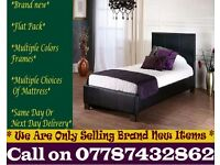 Strong PU Leather Frame Single Bedding Black Brownalso have double and king Alpha