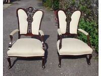 Pair of Unusual Carved Mahogany Armchairs Victorian upholstered