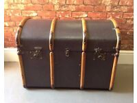 VINTAGE Antique Bentwood Domed Steamer Trunk Chest