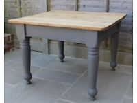 Vintage pitch pine kitchen dining table