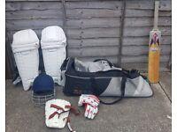 Men's Cricket Gear (Bat, Batting Pads, Gloves, Helmet, Thigh Pads, Wheelie Bag)