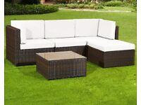 BROWN RATTAN SOFA SET Garden Furniture Patio Corner Sofa Set Lounger Table Outdoor Conservatory