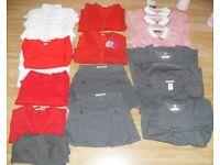 Girls School Uniform Bundle Age 4-5 Red, Grey, White - 18 items