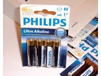 BOX OF 12 PACKETS OF 4 PHILIPS ULTRA AA ALKALINE BATTERIES. VERY GOOD BATTERIES. BB 06-2019