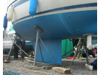 Boat / Yacht cradle, galvanised, good condition, 4 legs: suit 25ft to 31ft, fin / bilge keel