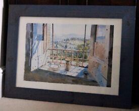 *** Lovely Print in Large blue Frame - Open Window on Beautiful Landscape ***