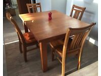 SOLID TIMBER TABLE & 4 CHAIRS