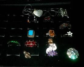 group of 12 silver rings including pandora daisy ring