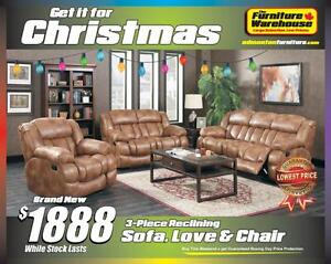 BRAND NEW Reclining Sofa, Reclining Loveseat and Reclining Chair