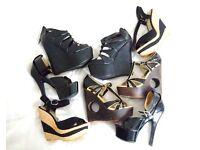 1 Faith leather black bundle job lot size 4 platform wedge heels sandal shoes NEW