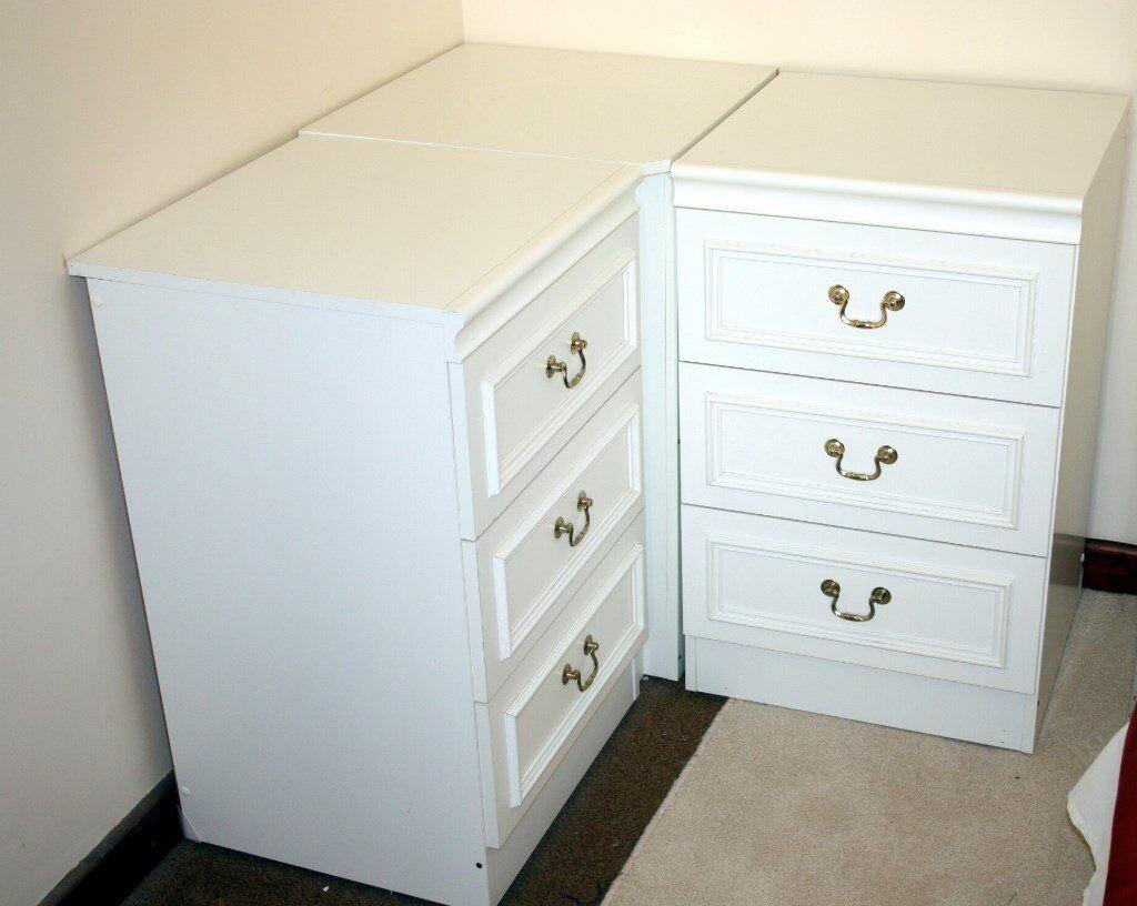 Matching White Bedroom Set Single Wardrobe 2 X Chests Corner Storage Unit Nice Cond