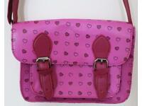 Small Pink Heart Print Satchel Cross Body Bag - Adjustable Strap