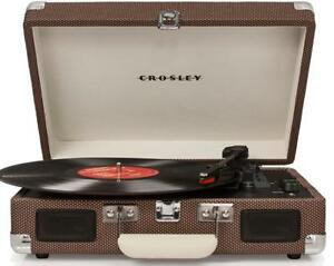 NEW Crosley CR8005D-TW Cruiser Deluxe Portable 3-Speed Turntable with Bluetooth, Tweed