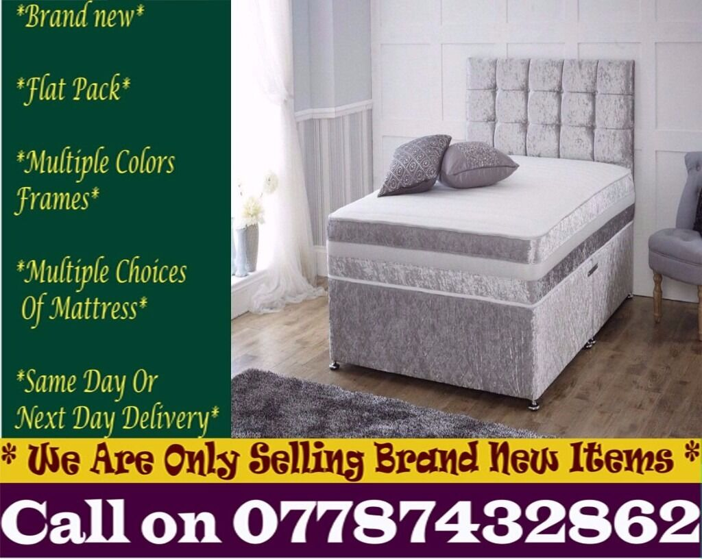 Amazing Offer CRUSH VELVET SINGLE DOUBLE KING SIZE MEMORY FOAM DESIGNERBedding Los Angelesin Orpington, LondonGumtree - Features Brand New Bed Type Divan Bed Size Standard Double Material crush velvet Dimensions Width 4ft6 140cmLength 6ft3 190cm Divan Base Features Platform Top Base We adhere to strict quality standards to ensure you are fully satisfied also With your...