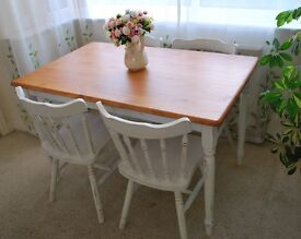 Shabby Chic Solid Pine Farmhouse Dinning Table and 4 chairs painted Annie Sloan
