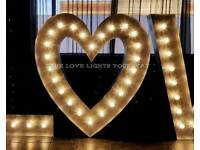 5ft Hand Crafted Aluminium Light Up Love Heart For Hire