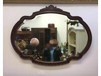 Vintage walnut framed wall mirror